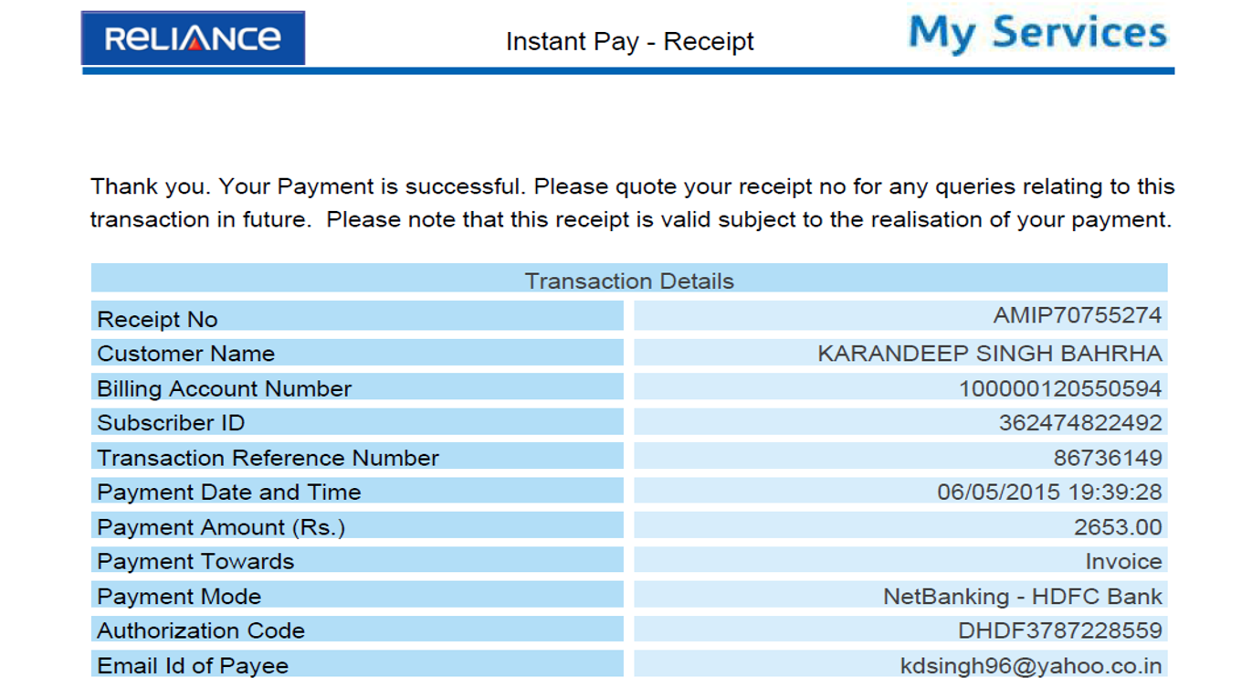 home reliance how to pay bill