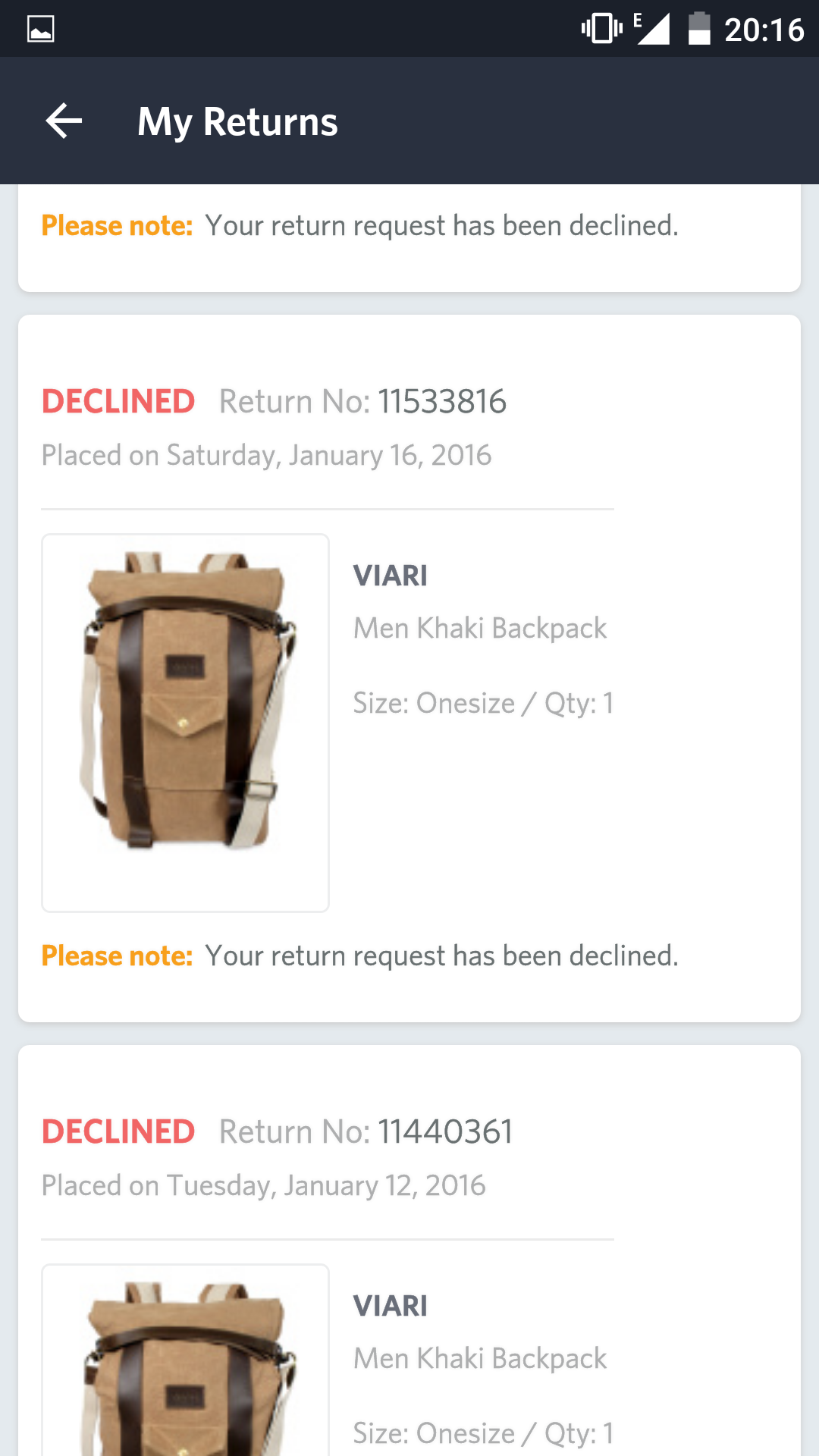 how to cancel return request on myntra