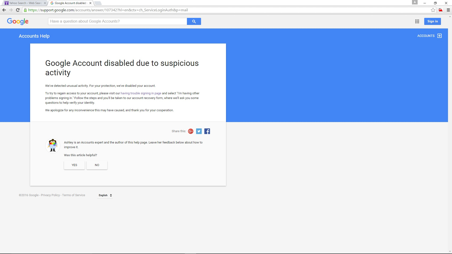 Gmail — Google account disabled due to suspicious activity