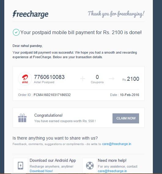 Airtel landline bill payment coupons
