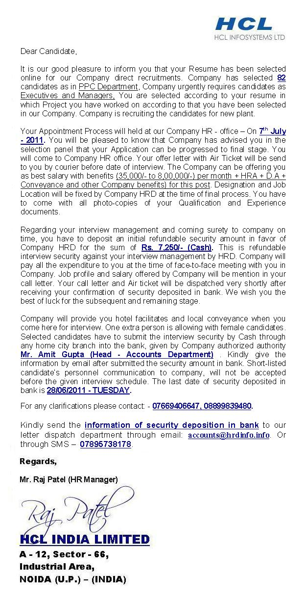 Hcl India Limited FAKE OFFER LETTER