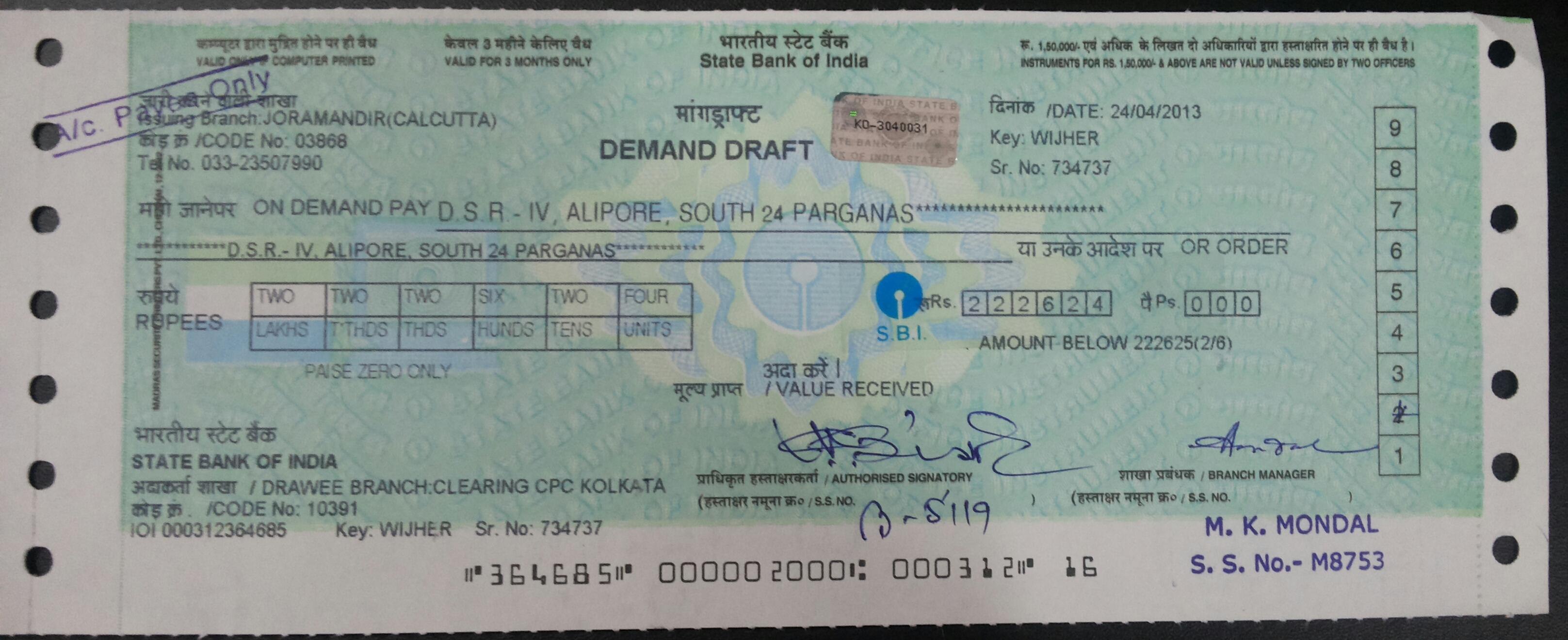 DEMAND DRAFT Stop Payment Of DD Cancel The DD And Issue