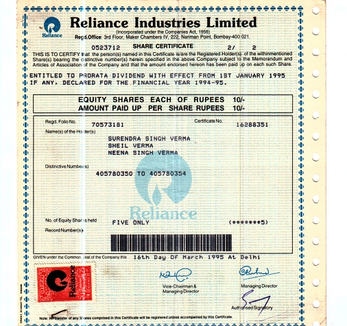 issue of missed share certificates