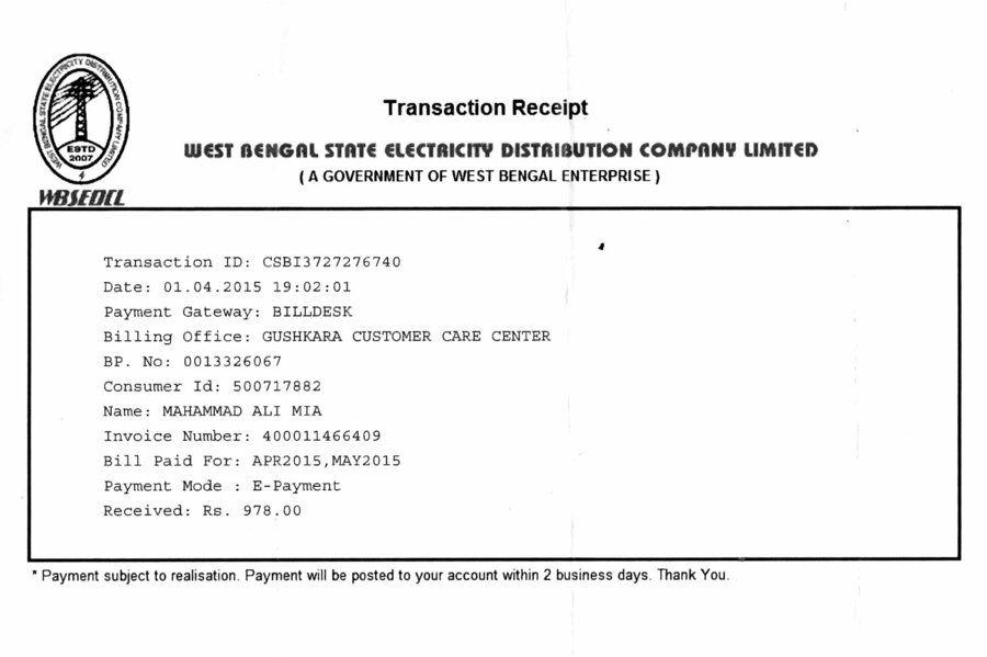 WBSEDCL — Showing E Payment Electric Bill is Wrong, please help me