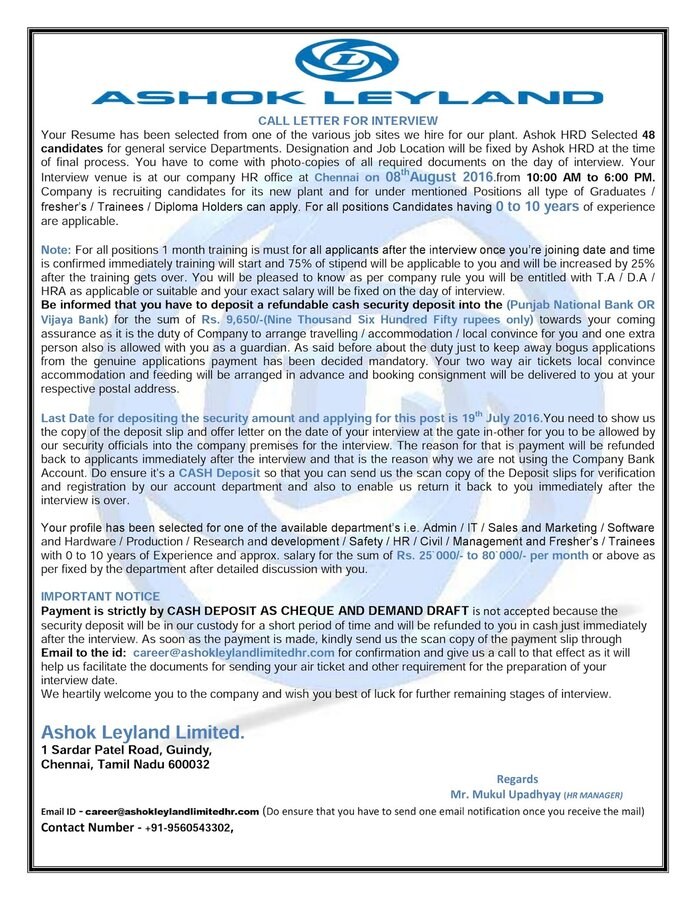 Tata motors offer letter from tata motors i got a fake call letter from tata motors ashok leyland and lt asking for money to deposit to their company account thecheapjerseys Gallery