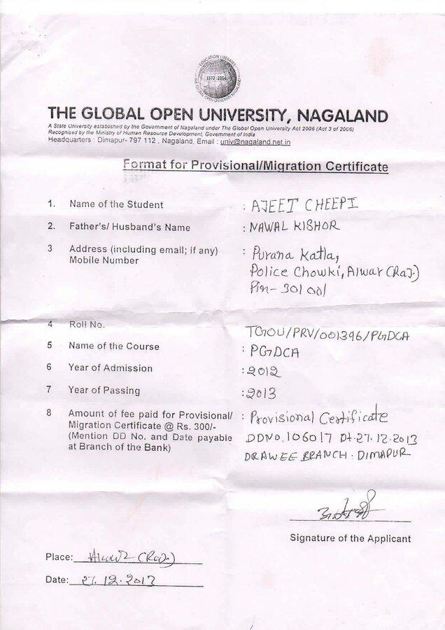 The Global Open University Nagaland Prov Verification Certification