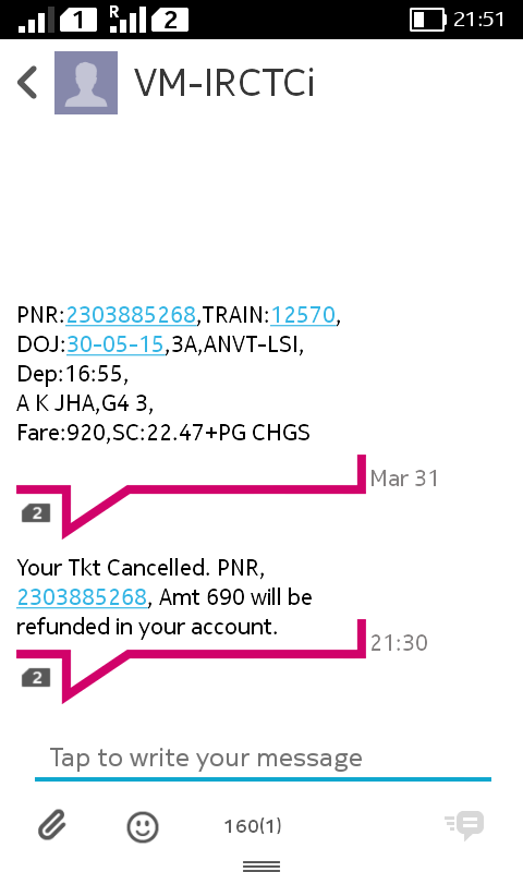 IRCTC — wrong message by IRCTC leading to cancellation of my very
