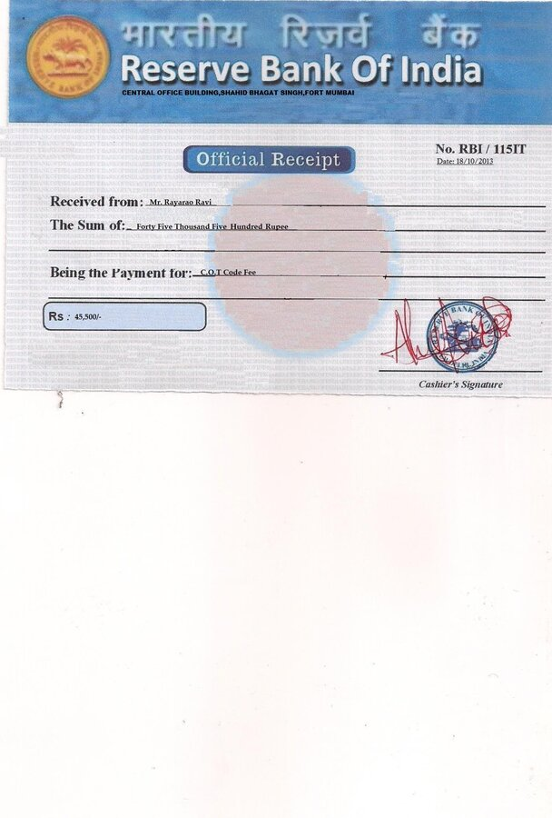 Reserve Bank of India (RBI) — Please verify about my transaction