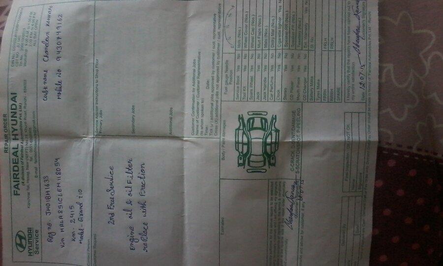 hyundai motor india reg correction of my grand i10 sportz car s