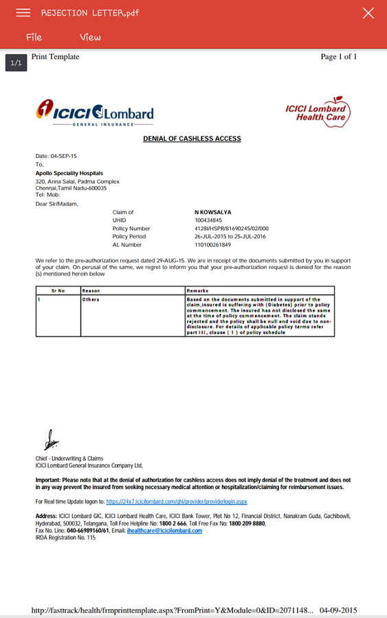 Resolved ICICI Lombard Health Insurance — Rejection of ...