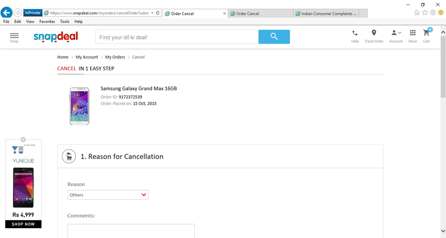 ecfb83fe1 Snapdeal — Unable To Cancel Order — One Easy Step Cancelation policy