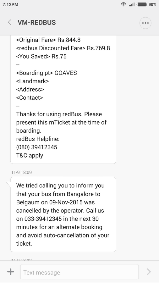 Redbus And Paulo Travel — Cancellation of ticket