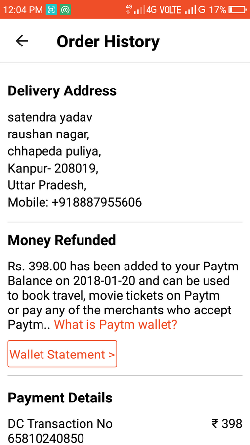 Paytm — Refund amount due to invalid recharge