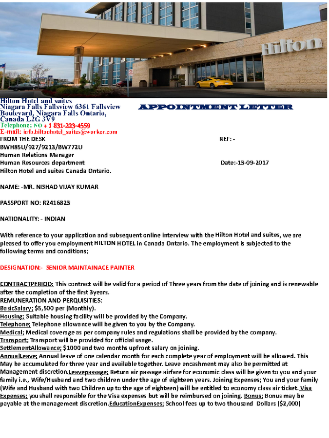 Hilton Hotel-uk — To confirm about my appointment order
