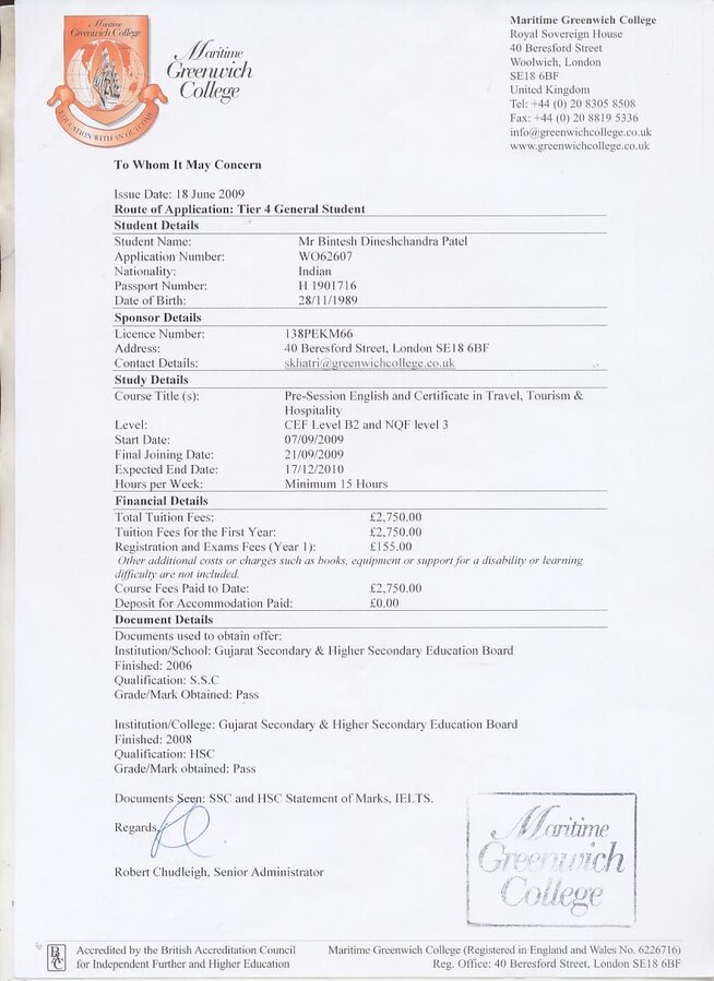 VFS Global & British Deputy High Commission Mumbai — Non receipt o
