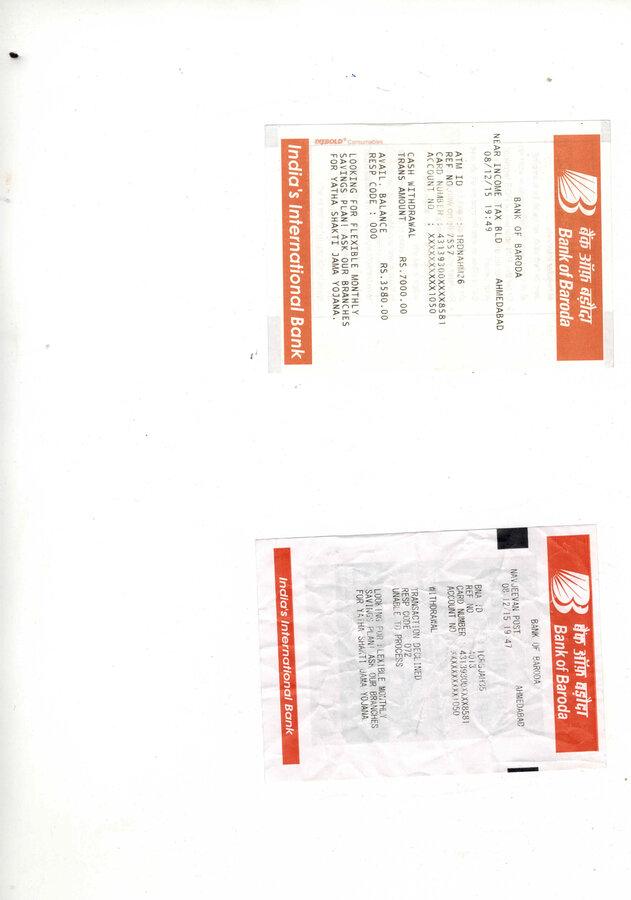 Bank Of Baroda — Amount deducted although transaction