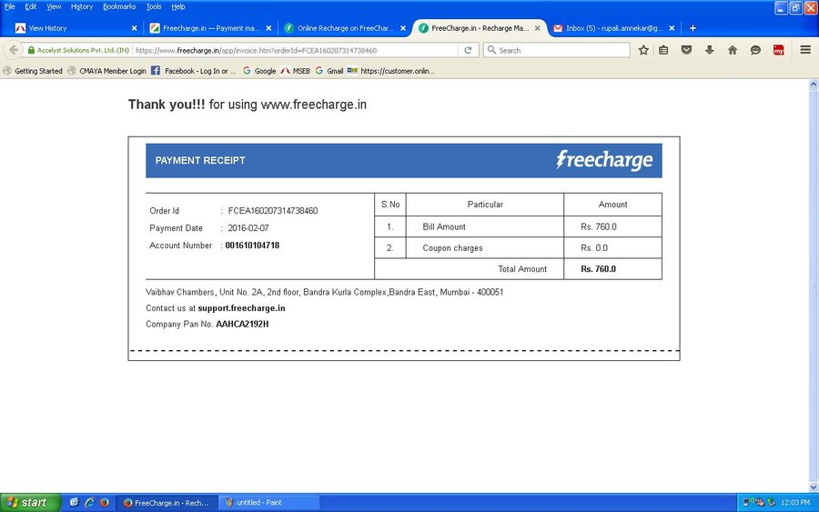 Resolved] Freecharge in — Payment made for MSEDCL but not Credited