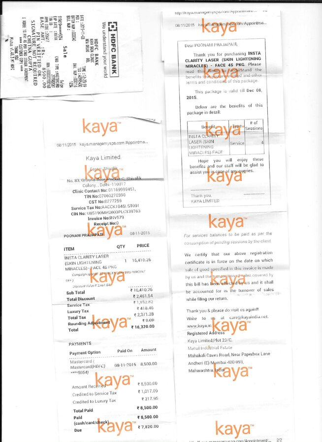 Kaya Skin Clinic — Complaint for poor service