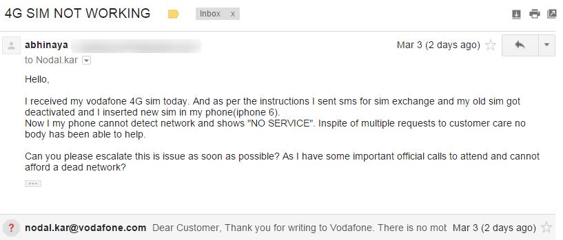 Vodafone — No service on new 4g sim