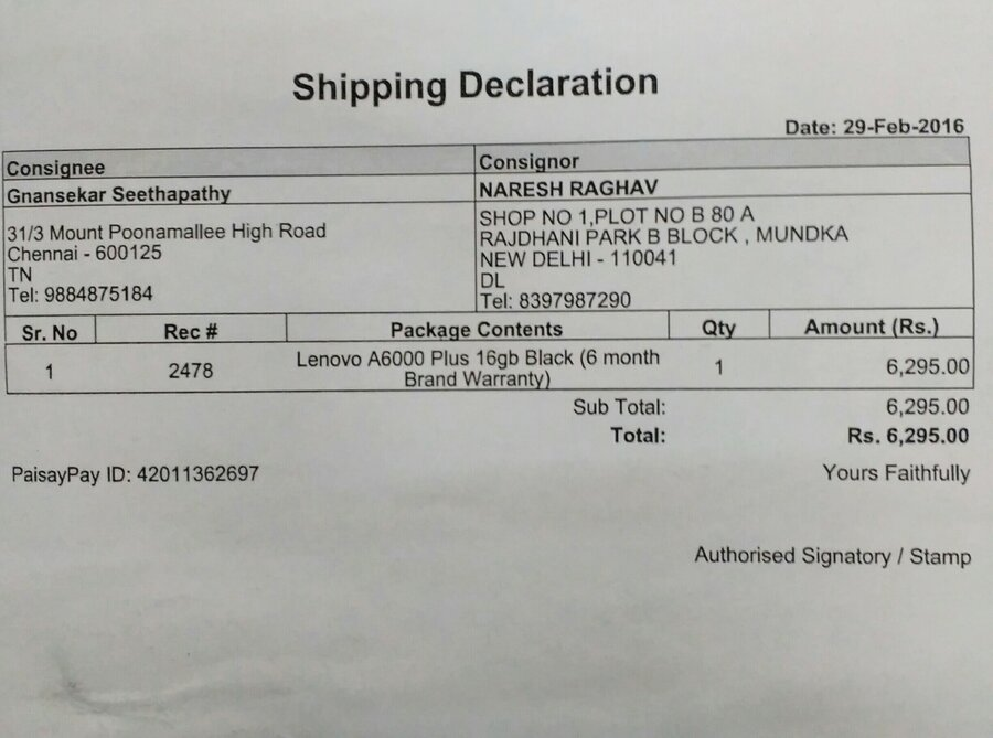 Ebay in — Not working item delivered lenovo a6000 plus