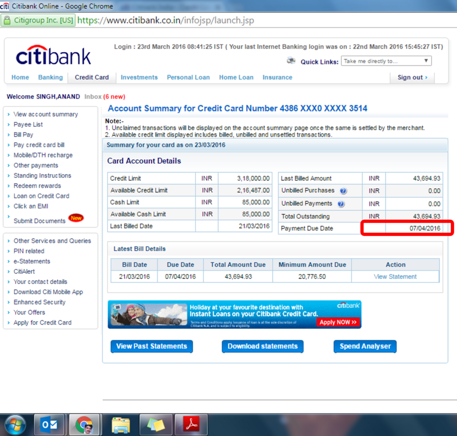 Citibank — Credit card billing and forced payment before due date