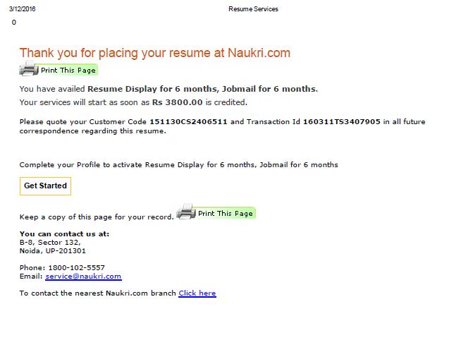 Resolved] Naukri.com — Complaint regarding the paid fast forward service