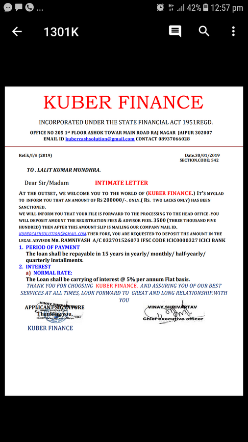 Kuber Finance Company — Personal loan