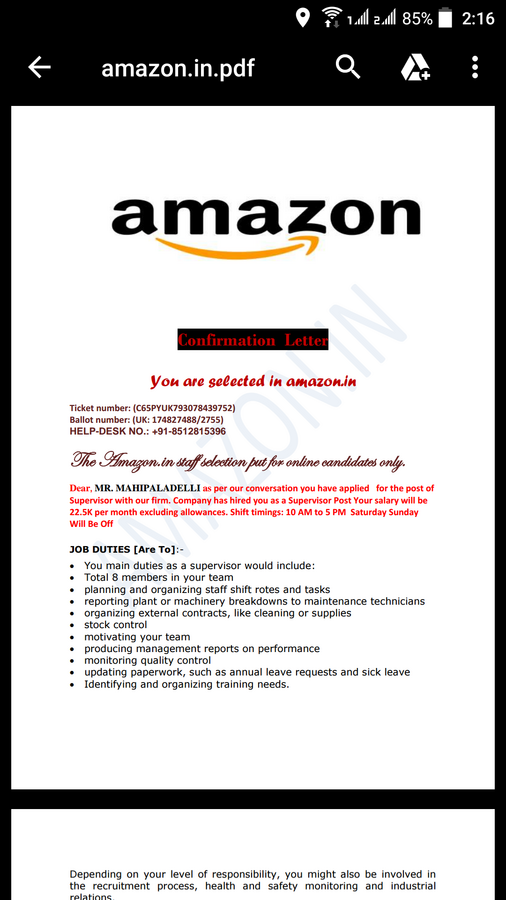 Amazon India — I am losed my money fake job offer from