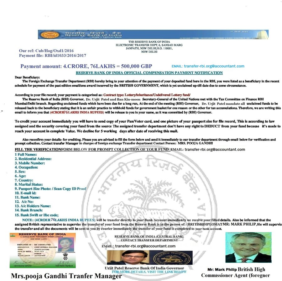 Reserve Bank Of India [Rbi] — Unwanted funds transfer to me