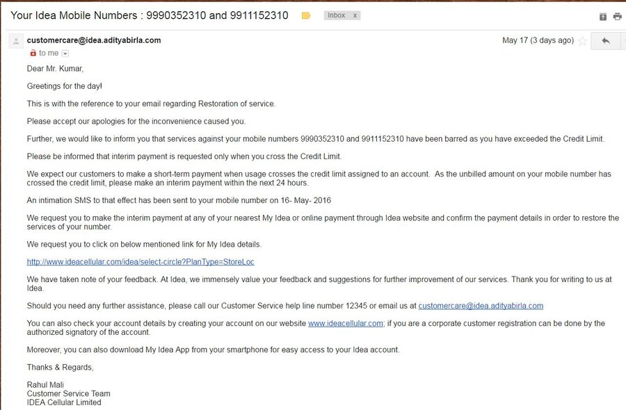 Resolved] Idea Cellular — Credit limit exceeded and barred