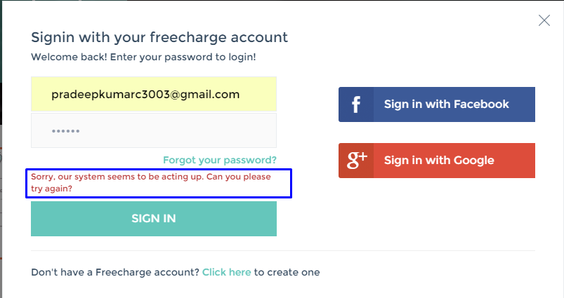 Freecharge in / Accelyst Solutions — Login failed and couldn't use