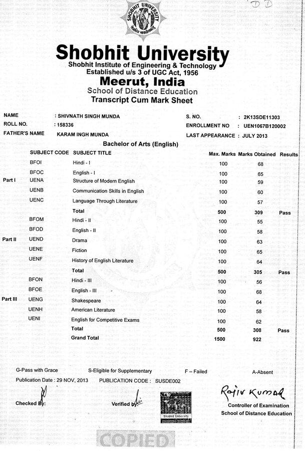 Shobhit university checked mark sheet yelopaper Gallery