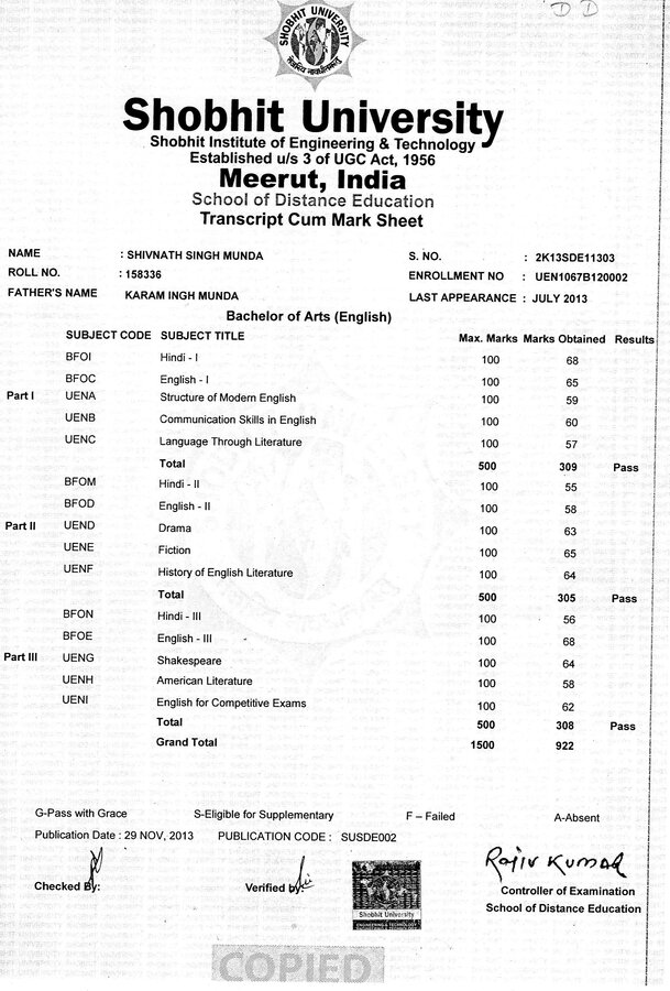 Shobhit university checked mark sheet yelopaper Choice Image