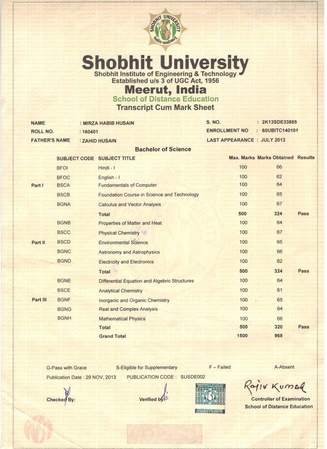 Resolved] Shobhit University — Checked Mark Sheet