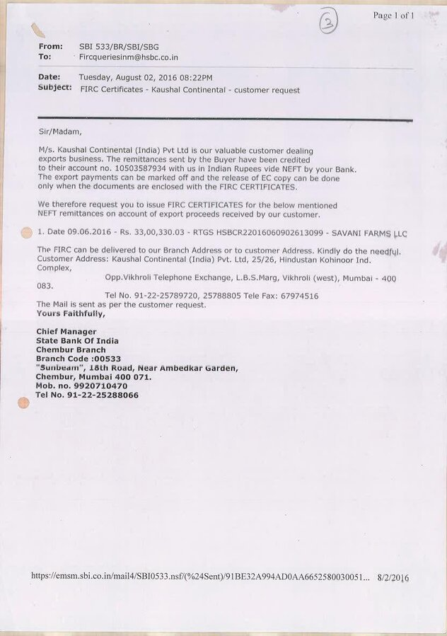 Reserve Bank Of India [Rbi] — Asking for firc for inward remittance