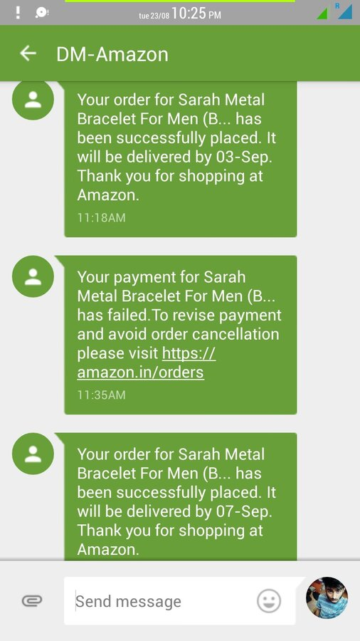 Amazon India — Wrong cancellation message