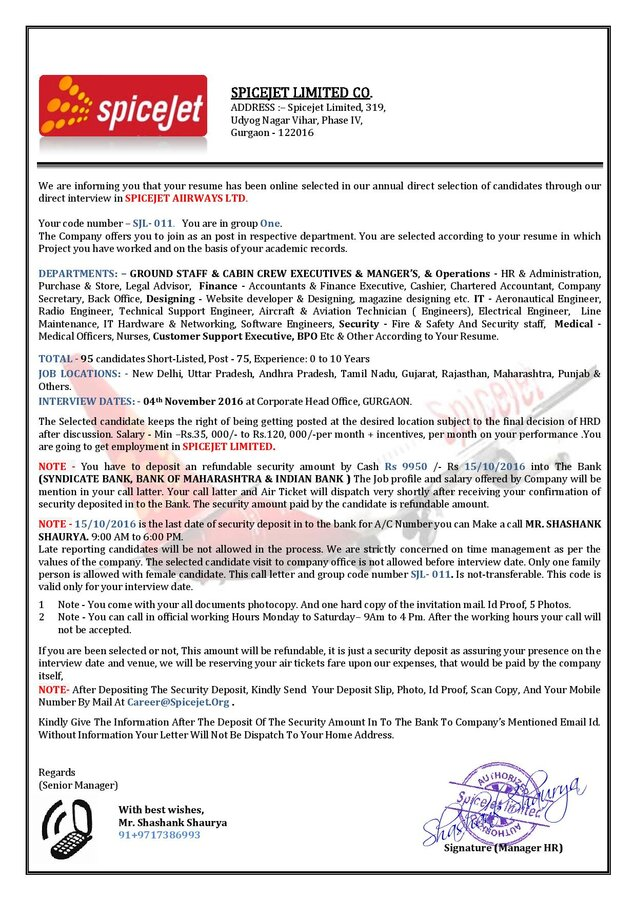 Spice Jet Airlines — Fake call letter asking for security