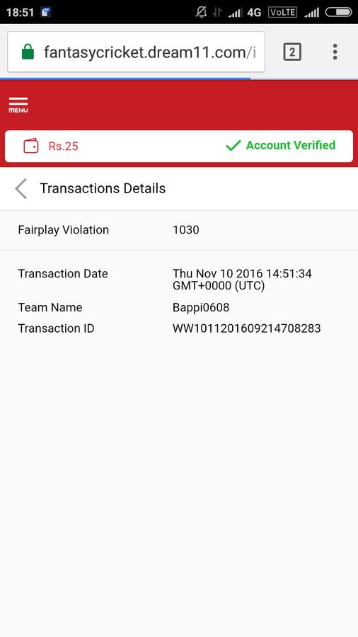 Resolved] Dream11 — Fair play violation
