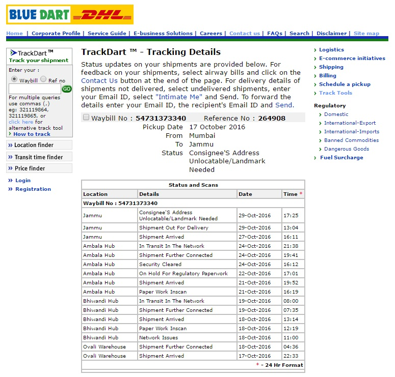 Bluedart — Shipping and Logistics