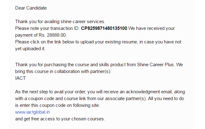 shine com refund for 25000 the course not started