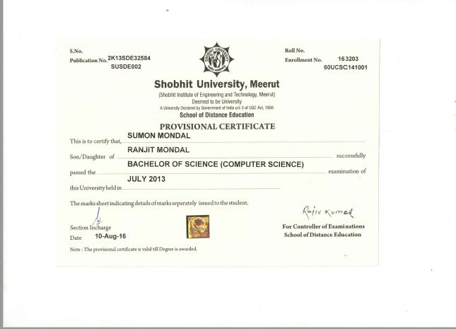Shobhit university distance education director online colleges all permission certificate of shobhit university yelopaper Choice Image