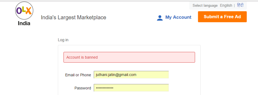 Resolved] OLX India — OLX India - Account Banned for no reason !!!