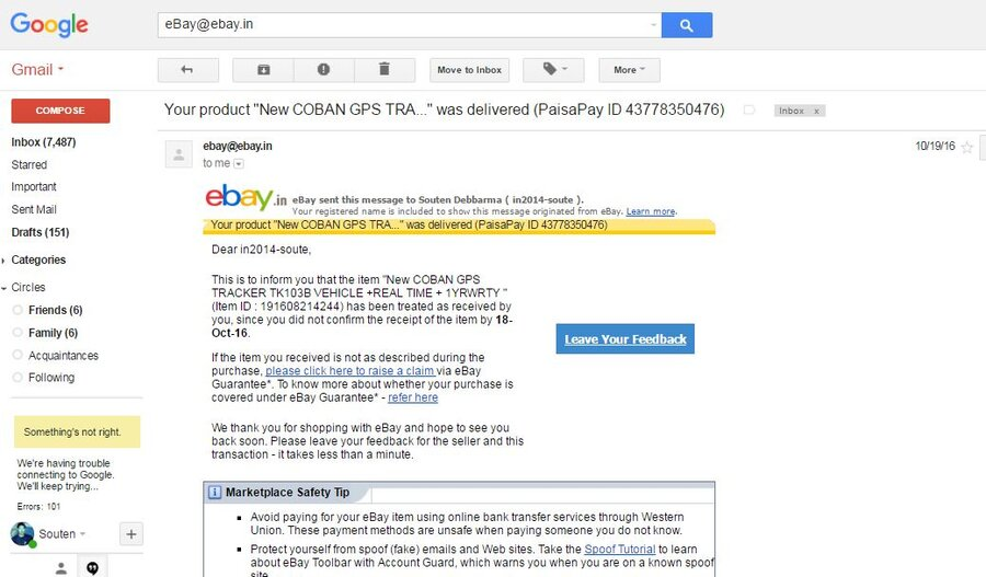 Ebay India Pvt Limited Unauthorized Changes O Censored Ser Id Email Id And Accounts Password