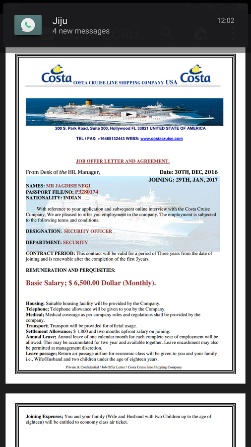 Costa Cruise Shipping Company Usa — Job offer