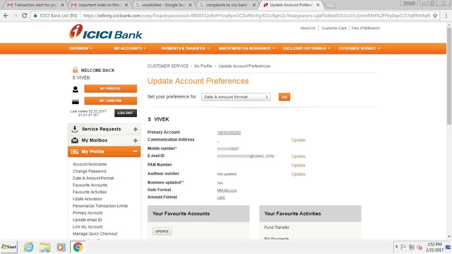 ICICI Bank — Regarding my otp number is not registered
