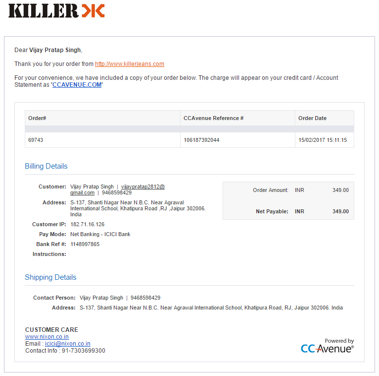 Resolved Killer Jeans Purchased Item Not Received Till Date