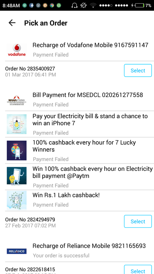 Paytm Mobile Solutions — Mseb electricity bill was unable to