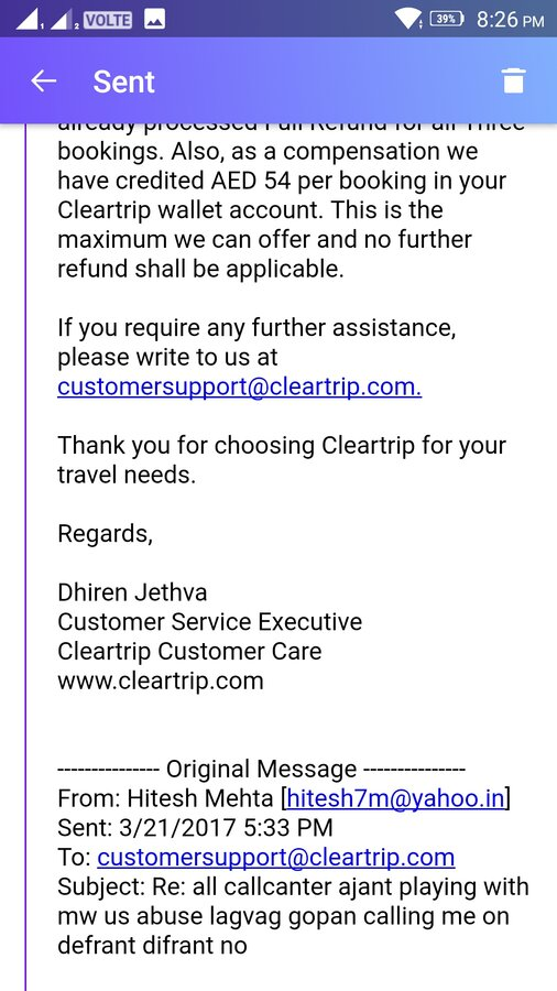 Resolved] Cleartrip — Fraud with customer
