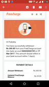 Manny not transaction for freecharge account to sbi account