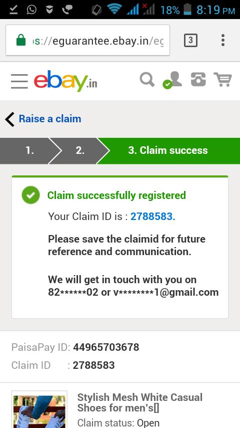 Resolved] Ebay in — Complain